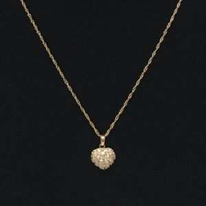 Jewelry - Solid 18K Gold Puffed Heart & Chain